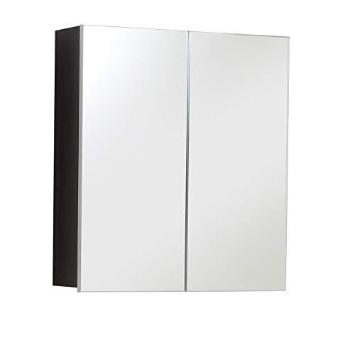 trendteam smart living Badezimmer Spiegelschrank Spiegel Skin, 60 x 67 x 18 cm in Front Spiegelglas, Korpus Sardegna Rauchsilber mit viel Stauraum