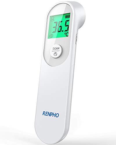 Infrarot Fieberthermometer Kontaktlos, RENPHO Digitales Stirnthermometer mit Dreifarbigem Alarm, 1s Instant Read, Körper- und Objektmodus, Geeignet für Babys, Erwachsene, Älteste
