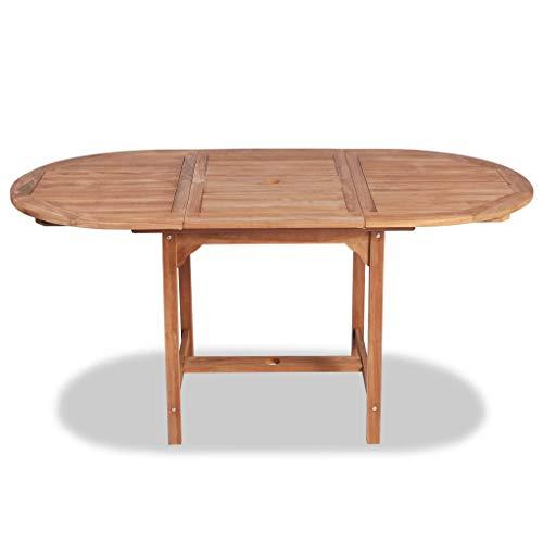 Festnight Tavolo da Pranzo Ovale Estendibile Legno Teak,Tavolo da Giardino in Legno,Tavolo da Esterno Allongabile (110-160) x80x75cm