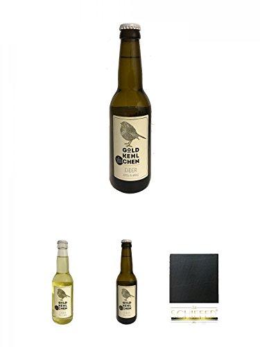 Goldkehlchen Cider Apfel (Vegan) + Goldkehlchen Cider Apfel und Birne (Vegan) + Goldkehlchen Cider Apfel (Vegan) + Schiefer Glasuntersetzer eckig ca. 9,5 cm Durchmesser