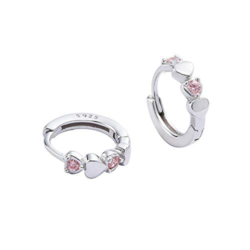 Double Love Heart Cubic Zirconia Sleeper Small Hoop Earrings for Women Teen Girls Sterling Silver Cartilage Tiny Cute Huggie Hoops Hypoallergenic for Sensitive Ear Pink CZ