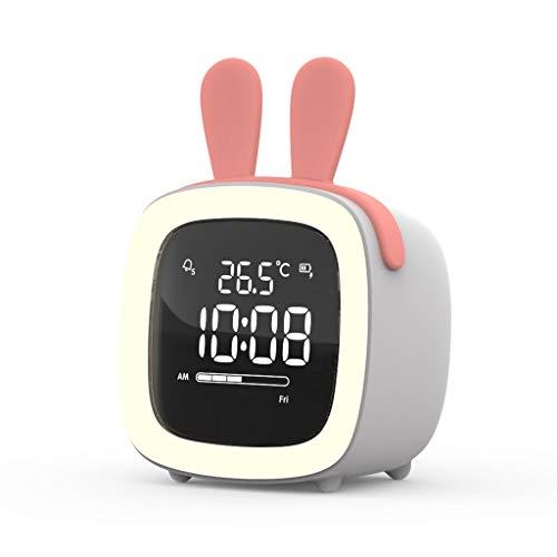 Smart Alarm Klok met Snooze Backlight Dimbare Voice Control Function huis Slaapkamer elektronische klok Student Bedside Silent tafelklok Stil Ontwerp (Color : C, Size : 7.9cm*6.6cm*8.2cm)