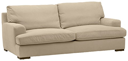 "Stone & Beam Lauren Down-Filled Oversized Sofa Couch with Hardwood Frame, 89""W, Fawn"