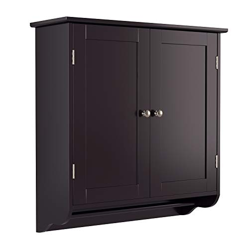 HOMFA Bathroom Wall Cabinet, Over The Toilet Space Saver Storage Cabinet Kitchen Medicine Cabinet Doule Door Cupboard with Adjustable Shelf and Towels Bar, Dark Brown