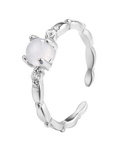 Lotus Fun S925 Sterling Silber Ringe Retro Eingelegter Mondstein Ring Einstellbarer öffnen Ring Temperament Handgemachter Schmuck für Frauen und Mädchen