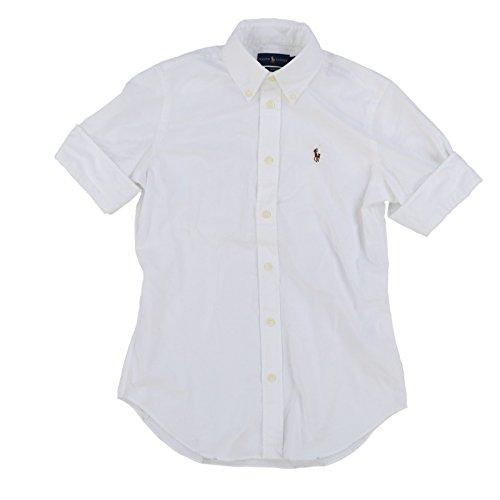 Polo Ralph Lauren Damen Wo Kurzarm Slim Fit Oxford-Hemd Medium Weiß