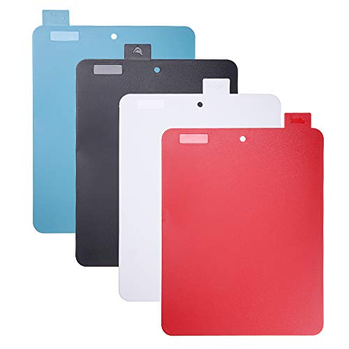 duoledaeu Tablas de Cortar de Plástico, Juego de 4 Tableros de Corte con Color Diferente, Tablas de Cocina para Cortar con Iconos de Alimentos para Lavavajillas