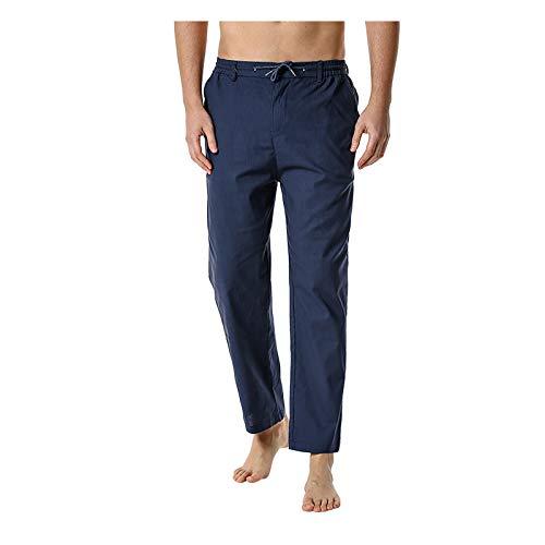KIMODO Freizeithose Herren Hosen Leinen Baumwolle mit Seitentaschen Lässige Casual Leichte Elastische Taille Sporthose Loose Yoga Home Pants Jogginghose (A-Marine, XL)
