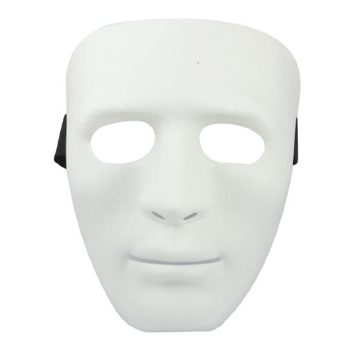 Man Adjustable Black Elastic Band Full Face Plastic Halloween Party Mask White (Masque/Careta)