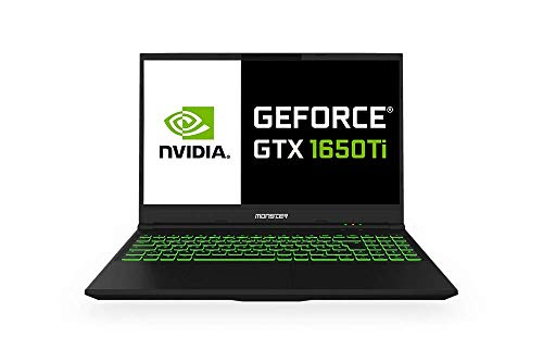 Monster Abra A5 V15.8 Gaming Notebook, Intel Core i7 10750H CPU, 8GB RAM, 256GB SSD, Nvidia GeForce GTX-1650Ti, Windows 10 Home 15.6'' FHD 120Hz IPS-LED-Bildschirm + Backpack