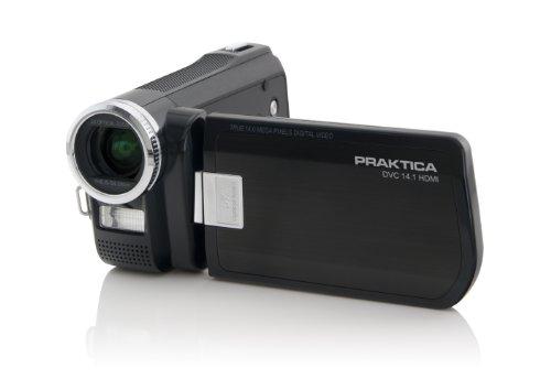 Praktica DVC 14.1 HDMI Full-HD 1080p Camcorder (SD/SDHC-Card 5-fach optischer Zoom 7,6 cm (3 Zoll) Display, Foto Funktion mit 14 Megapixel) schwarz inkl. Tasche