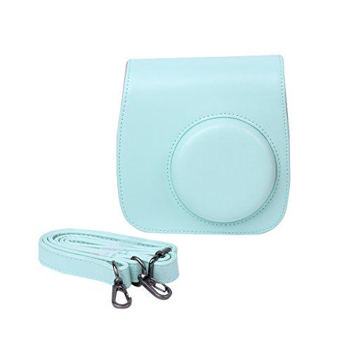 Mini 8/9 Camera Tassen Faux Lederen Schoudertas Buidelzak voor Fujifilm Lichtblauw