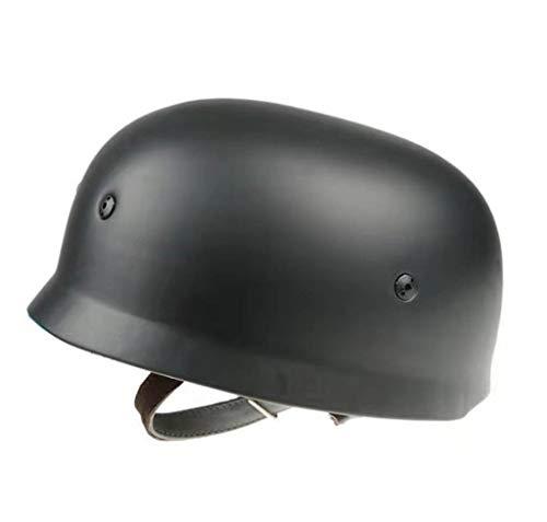 JXS Réplica de Casco de Soldado alemán WW2, Casco Paracaidista de Guerra m35, Forro de Cuero con Correa de Barbilla extraíble, Casco de Motocicleta Vintage, Talla única