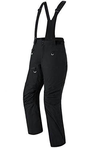 Women's Snow Ski Insulated Bib Pants Windproof Waterproof Breathable Pants with Detachable Suspenders for Snowboarding(Charcoal,XL)