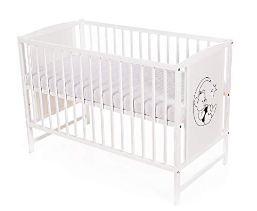 Niuxen SK-02 Baby Bett Kinderbett Mond Bär 120x60 höhenverstellbar Schlupfsprossen (mit Matratze)