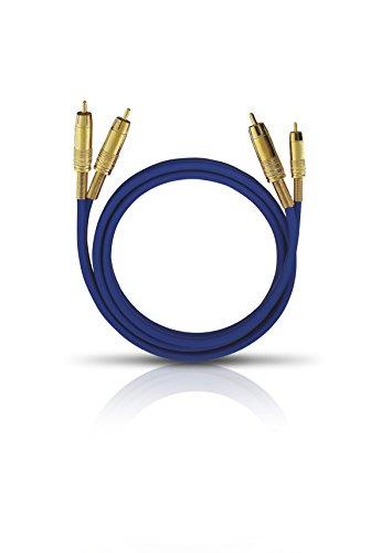 Oehlbach NF 1 Master 50 - Hervorragendes analoges Stereo Audio-Cinchkabel - 2X Cinch/2x Cinch, Vollmetallstecker, Schirmung - 50cm - blau