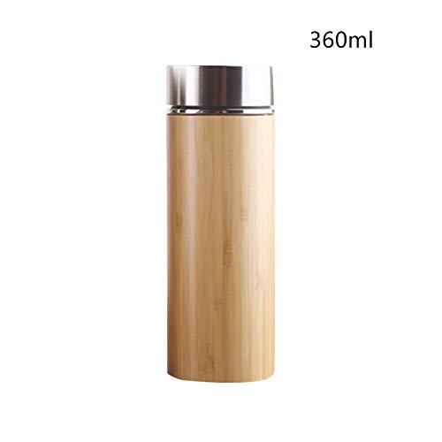 WJDHSG thermometer van roestvrij staal, bamboe, herbruikbare koffiemok met deksel, kan als reismok voor theeliefhebbers worden gebruikt, lege natuurlijke waterfles
