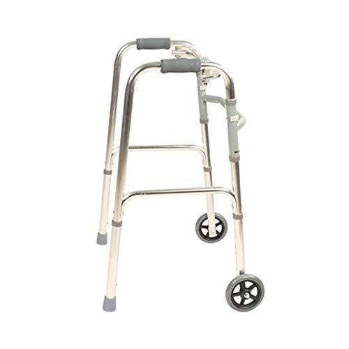 SONGYU Andador Plegable para Adultos Mayores, Caminantes de Asistencia para Escalar en el Descenso para Caminar, Ayuda para el Marco, muleta de 2 Ruedas, Peso Ligero, 2,6 kg