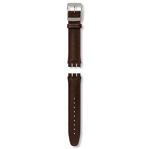 Correa Piel marrón Oscuro para Relojes Swatch Irony Chrono AYCS400 19mm