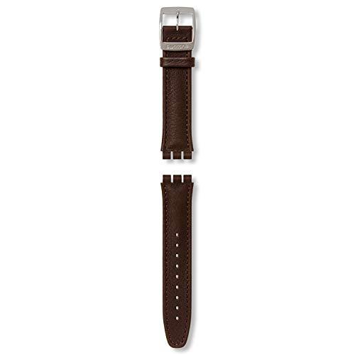 Swatch AYCS400 Uhrenarmband, Leder, Dunkelbraun für Swatch Irony Chrono, Breite 19mm