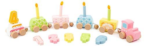 small foot 11482 Houten geboortedagboek met houten kaarsen zonder brandgevaar, met opzetstukken voor cijfers tot 6 jaar speelgoed, meerkleurig