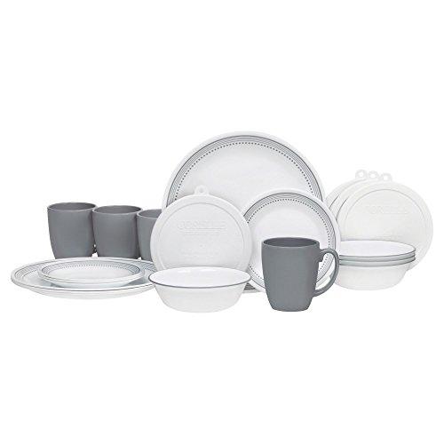 Corelle 20 Piece Livingware Dinnerware Set with Storage lids, Mystic Gray, Service for 4