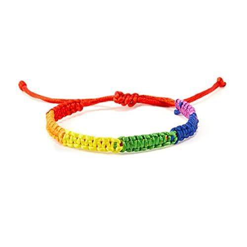 RRunzfon Pulsera LGBT Gays Lesbianas Arco Iris Orgullo Pulsera Tejida de Amistad Ajustable de la Amistad Estilo de la joyería6, Estilo Simple y Fresco Pulsera Japonesa