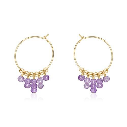 Lavender Amethyst Hoop Earrings in 14k Gold Fill