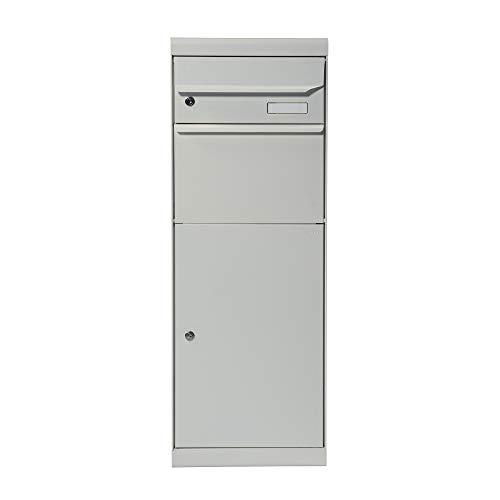 Renz 661041M MEFA pakketbrievenbus Maple 661 (kleur wit aluminium, brievenbus met slot, grootte 1091x402x303), wit-aluminium