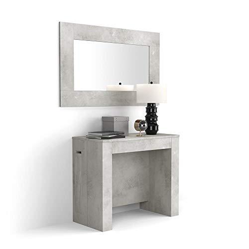 MOBILI FIVER, Mesa Consola Extensible con Porta-Extensiones, Modelo Easy, de Color Cemento, Aglomerado y Melamina Aluminio, Made in Italy