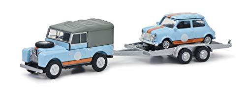Schuco 452659500 Set British Racing, Land Rover 88 mit Anhänger und Mini, Modellauto, Maßstab 1:87