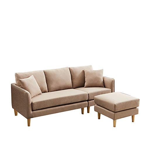 Corner Sofa, Carkoci Convertible Sectional Sofa Modern Style Living Home Furniture Set L-Shaped Couch with Removable Ottoman Accent Upholstered Sofa Sets for Living Room Apartment(Brown)