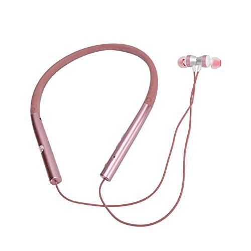 Cuffie Sportive Bluetooth con Archetto da Collo, Cuffie Intelligenti Anti-Caduta Adatte per L'esercizio, Auricolari Ergonomici con 2 Cuffie di Ricambio, Cuffie Bluetooth Senza Fili(Rosa)