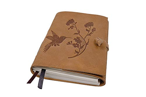 Leather Journal Bird & Flower Engraved Leather Bound Writing Journal for Women & Men Unlined Journals for Women, Leather Bound Notebook Unruled Journal & Diary