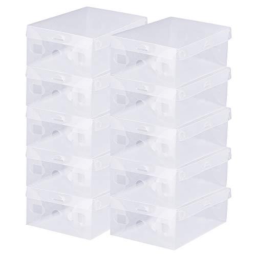 BUZIFU Cajas de Zapatos Transparentes, 20 unidades Cajas Plastico Zapatos, Caja para Zapatos Apilable, Hasta La Talla 42, Caja para Guardar Calzado de Muchos Tipos, Zapatillas, Tacones y Botas Cortas