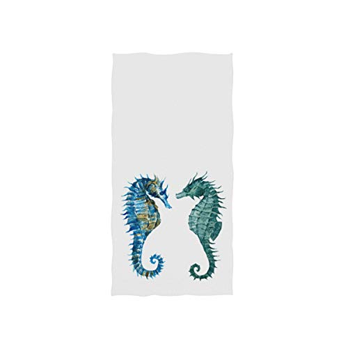 Naanle Watercolor Blue Seahorse Couple Marine Sea Life White Soft Bath Towel Absorbent Hand Towels Multipurpose for Bathroom Hotel Gym and Spa 30'x15'