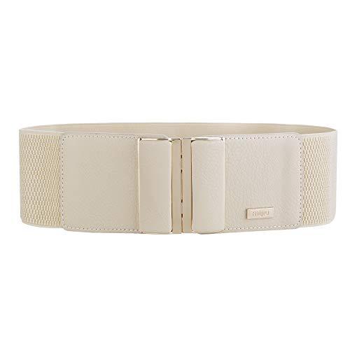 MIJIU Gürtel Elastischer für Damen Breiter Taillengürtel verstellbaren Guertel mit Legierung schnalle (Beige)