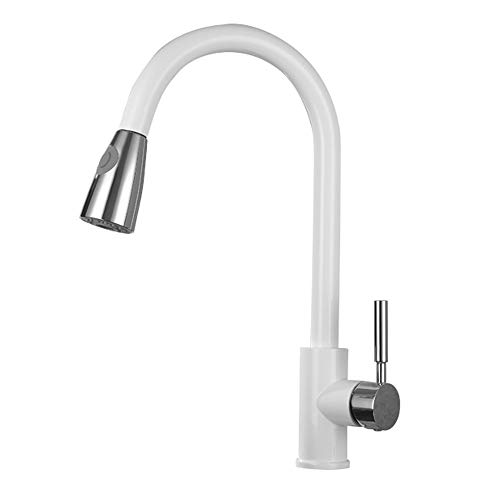 Read About Modenny Kitchen Pull Down Rotate Hot and Cold Water Tap Copper White Paint Sink Pull Out ...