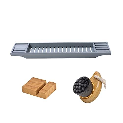 Bandeja de bañera premium [bandeja de bañera de bambú natural] con parche antideslizante, orificio de drenaje en la parte inferior de la caja de almacenamiento de la bañera, un regalo ideal para los s