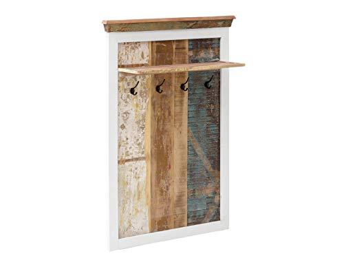 Woodkings® Garderobenpaneel Holz weiß Wandgarderobe Perth massiv, rustikal Mehrfarbig Flurmöbel Vintage, Garderobe mit Kleiderhaken, Ablage
