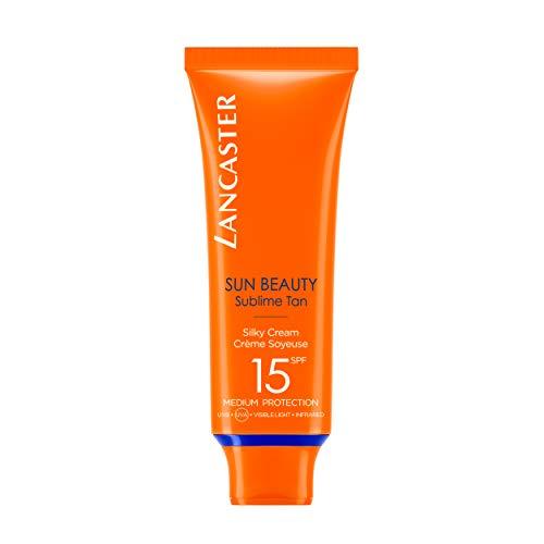 LANCASTER Sun Beauty Silky Cream LSF 15, Gesichts-Sonnencreme, feuchtigkeitsspendend, mit Bräunungsaktivator, 50 ml