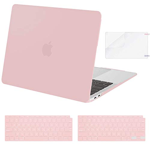 MOSISO MacBook Air 13 inch Case 2020 2019 2018 Release A2179 A1932 Retina Display, Corner Protective Plastic Hard Shell&Keyboard Cover&Screen Protector Only Compatible with MacBook Air 13, Rose Quartz