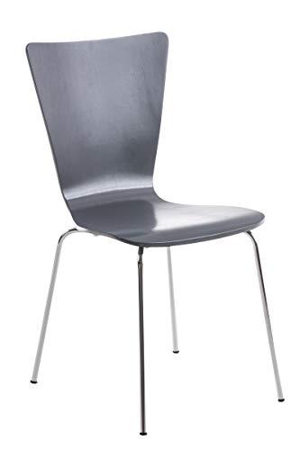 CLP Stapelstuhl Aaron Ergonomisch Geformter Konferenzstuhl Mit Holzsitz Und Metallgestell I Platzsparender Stuhl Mit Pflegeleichter Sitzfläche, Farbe:grau