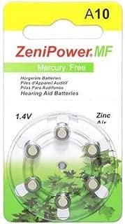 ZeniPower ZENIPOWER-A10-D6-MF 95mAh 1.45V Hearing Aid Zinc Air Batteries - Pack of 6