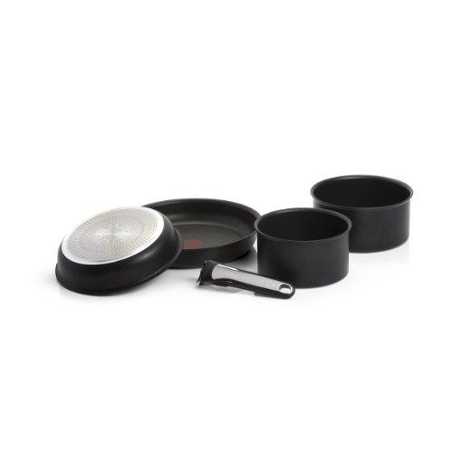 Tefal L3209402 Ingenio Induction Batterie de cuisine Set de 5 Pièces Aluminium Noir : 2 poêles (22/26 cm) + 2 Casseroles (16/18 cm) + 1 poignée
