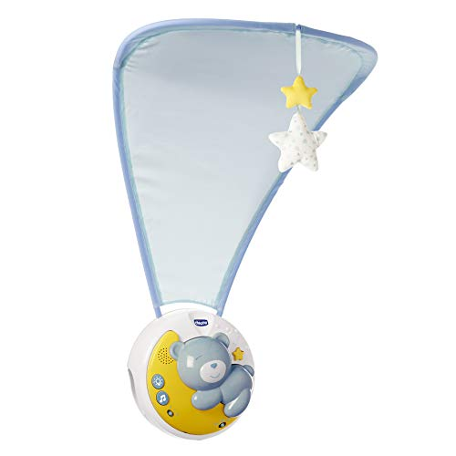 Chicco Next2moon Baby Cot Projector with Lights and Sounds, Mobile, Panel and Detachable Carousel Blue