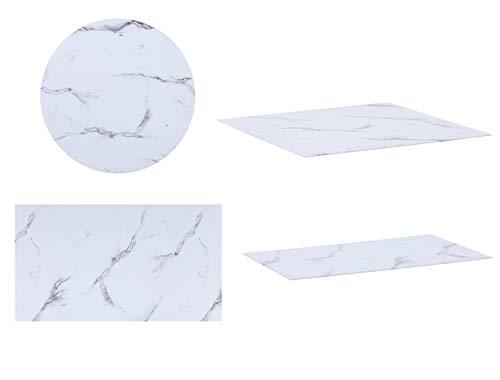 CasaXXl Glasplatte für Kaminofen & Tischplatte in Marmor Optik - Glasscheibe mit 6mm ESG Sicherheitsglas - perfekt geeignet als Funkenschutzplatte (Ø 90 cm)