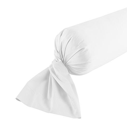 Jalla Taie de Traversin, Satin de Coton, Blanc, 43x185 cm