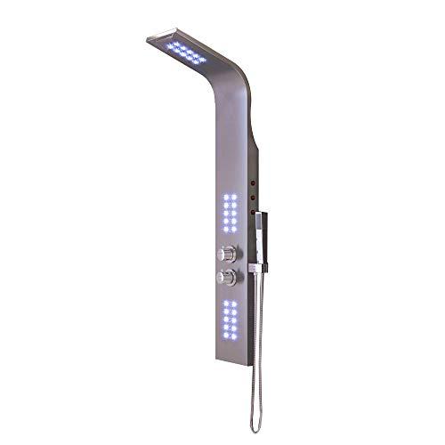 Edelstahl Duschpaneel mit LED Thermostat - Duscharmatur Handbrause mit 45 Düsen, Edles - Chrome, für Wellness Luxus und Duschvergnügen (Modell 1)