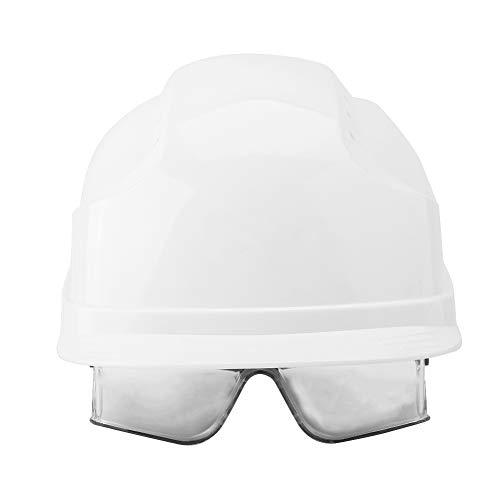 Casco de seguridad, casco de visera Hard Hat Defender Gafas incorporadas Casco para trabajador de la construcción(Blanco)